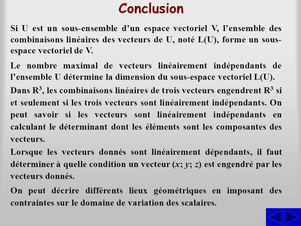 Conclusion Si U est un sous-ensemble dun espace vectoriel V, lensemble des combinaisons linéaires des vecteurs de U, noté L(U), forme un sous- espace