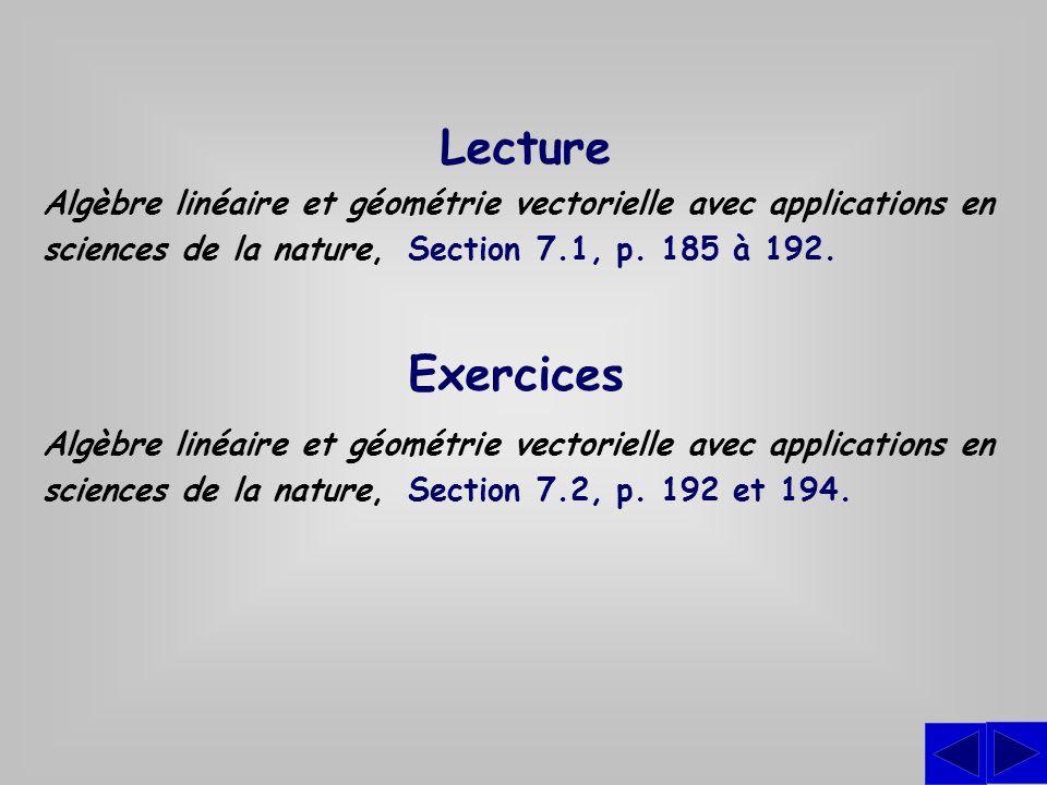 Exercices Algèbre linéaire et géométrie vectorielle avec applications en sciences de la nature, Section 7.2, p. 192 et 194. Lecture Algèbre linéaire e