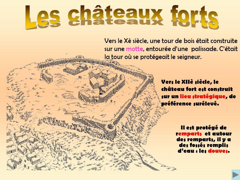 Vers le Xè siècle, une tour de bois était construite sur une motte, entourée dune palissade. Cétait la tour où se protégeait le seigneur. Vers le XIIè