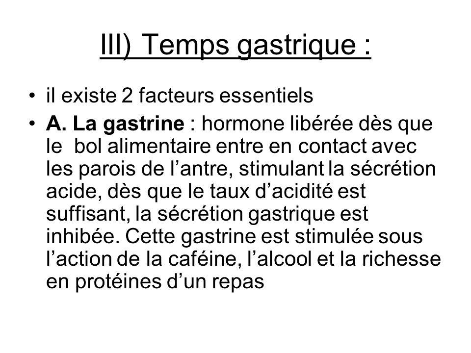 III) Temps gastrique : il existe 2 facteurs essentiels A. La gastrine : hormone libérée dès que le bol alimentaire entre en contact avec les parois de
