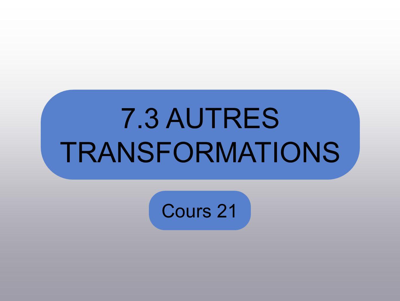 7.3 AUTRES TRANSFORMATIONS Cours 21