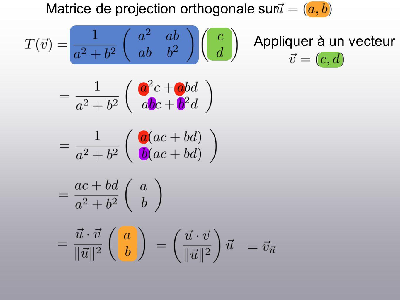 Matrice de projection orthogonale sur Appliquer à un vecteur