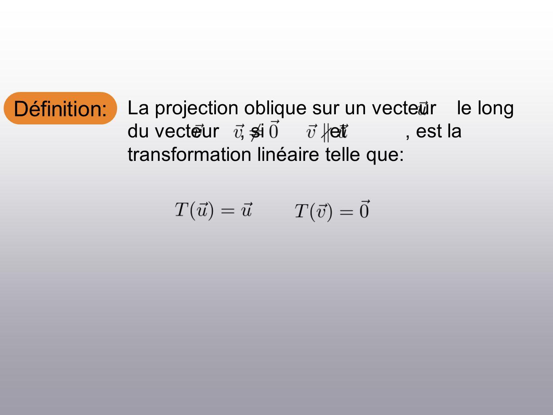 Définition: La projection oblique sur un vecteur le long du vecteur, si et, est la transformation linéaire telle que: