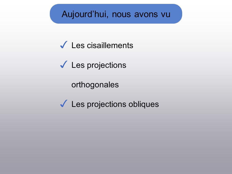 Aujourdhui, nous avons vu Les cisaillements Les projections orthogonales Les projections obliques