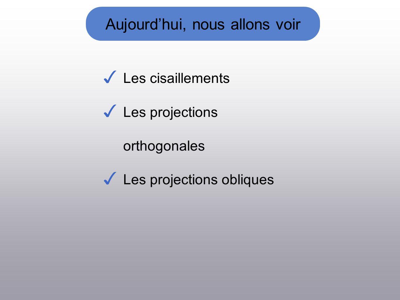 Aujourdhui, nous allons voir Les cisaillements Les projections orthogonales Les projections obliques