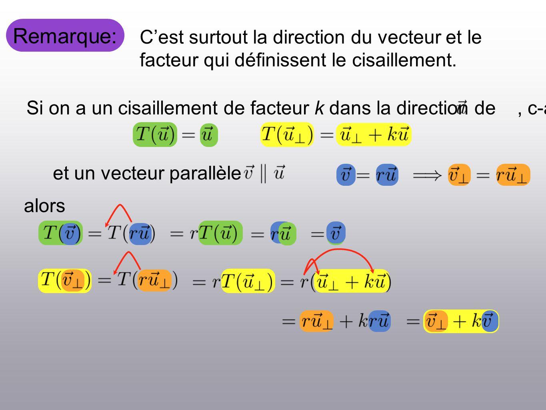 Remarque: Cest surtout la direction du vecteur et le facteur qui définissent le cisaillement.