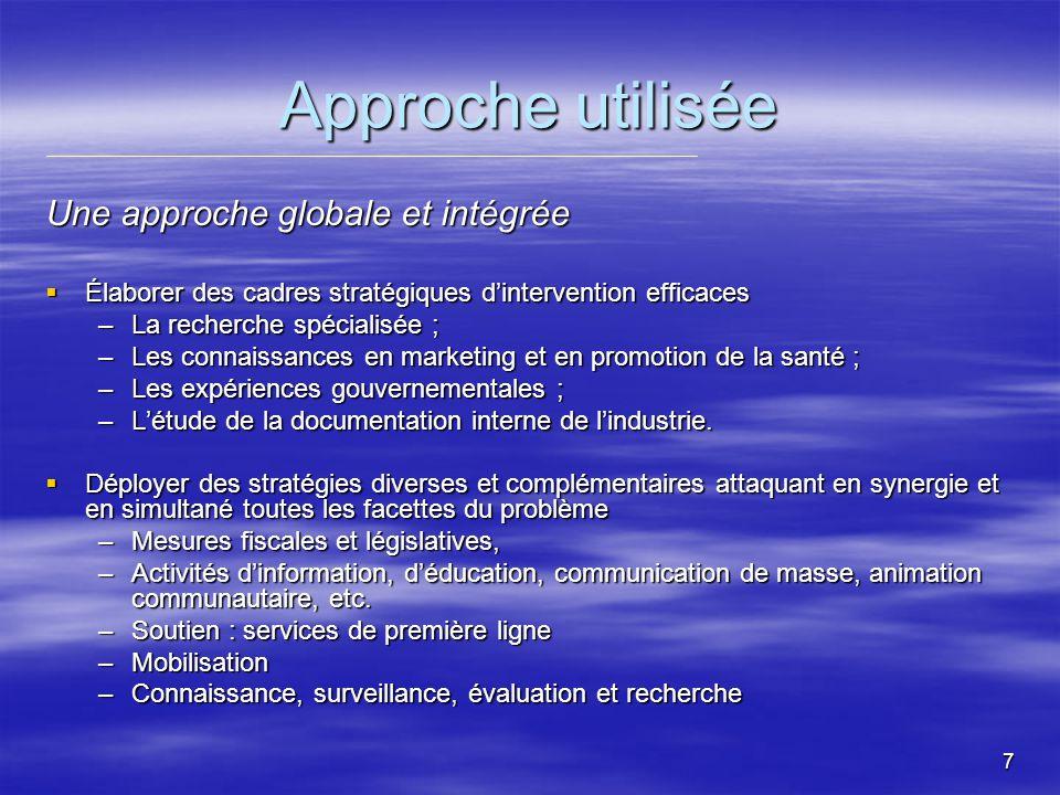 8 Actions politiques Les assises Le PQLT sinscrit dans les objectifs de la Convention-cadre de lOMS pour la lutte antitabac (le Canada a ratifié lentente) ; Le PQLT sinscrit dans les objectifs de la Convention-cadre de lOMS pour la lutte antitabac (le Canada a ratifié lentente) ; La cigarette est le seul produit qui tue lorsquil est consommé comme prévu par le fabricant ; La cigarette est le seul produit qui tue lorsquil est consommé comme prévu par le fabricant ; Lobjectif : changer la norme sociale qui banalise le tabagisme.