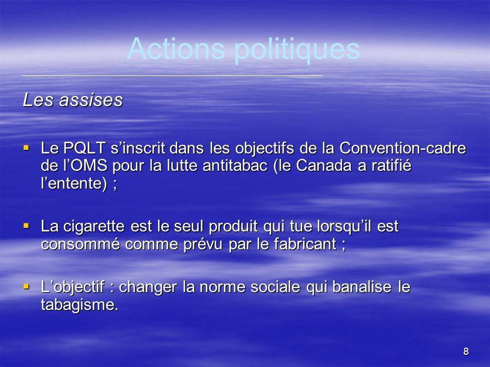 9 Actions politiques Des engagements gouvernementaux continus Premier Plan de lutte contre le tabagisme avec un budget de 3 M$ pour 18 répondants régionaux en1994 ; Adoption de la Loi sur le tabac en 1998 ; Financement des thérapies de sevrage à la nicotine (TSN) en 2000 ; Hausse des taxes sur le tabac et augmentation du budget de 5 M$ à 20 M$ en 2001 et 2002 ; Hausse des taxes sur le tabac et augmentation du budget de 5 M$ à 20 M$ en 2001 et 2002 ; Mise en œuvre dun Plan québécois dabandon du tabagisme (PQAT) 2003 ; Mise en œuvre dun Plan québécois dabandon du tabagisme (PQAT) 2003 ; Programme national de santé publique 2003-2012 – objectif de réduire à 18 % le taux de tabagisme : 2003 ; Programme national de santé publique 2003-2012 – objectif de réduire à 18 % le taux de tabagisme : 2003 ; Adoption de la Loi modifiant la Loi sur le tabac le16 juin 2005.