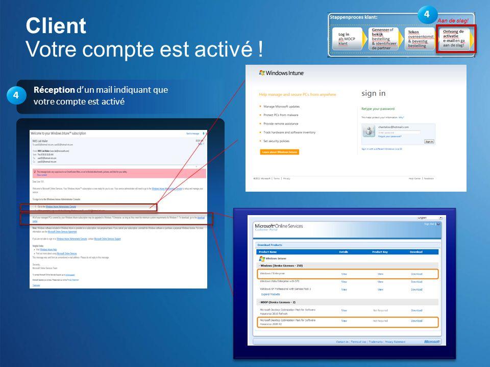 4 Réception dun mail indiquant que votre compte est activé Client Votre compte est activé ! 4