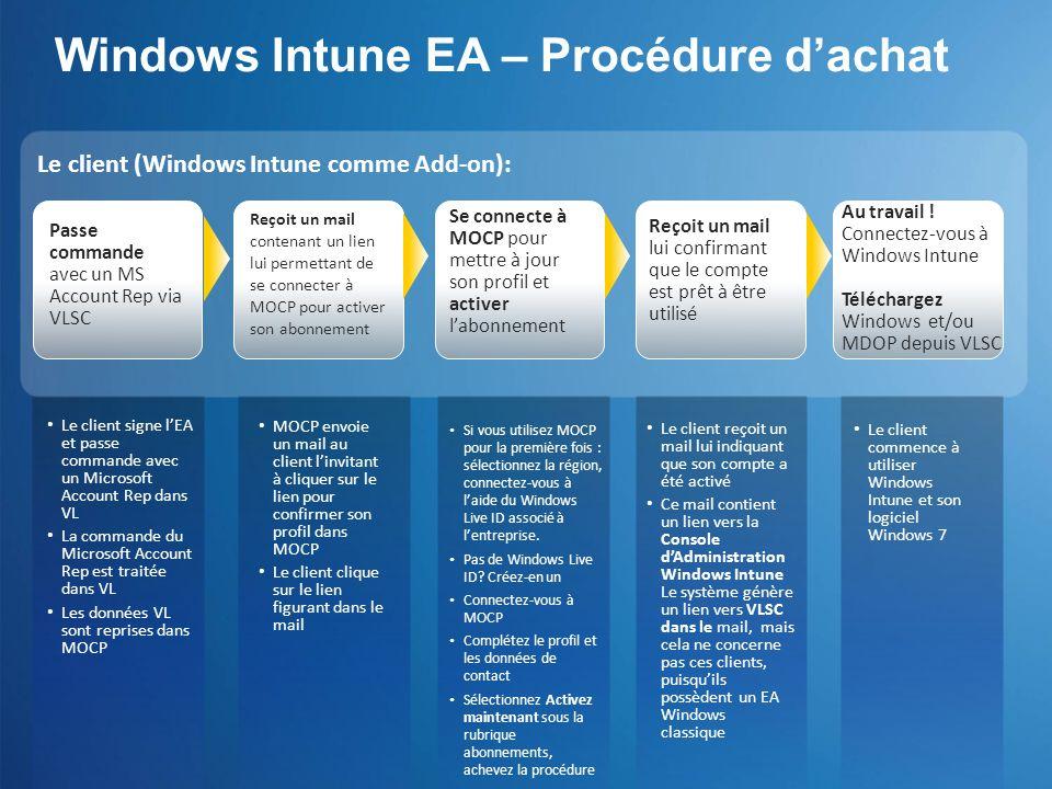 Windows Intune EA – Procédure dachat Si vous utilisez MOCP pour la première fois : sélectionnez la région, connectez-vous à laide du Windows Live ID a