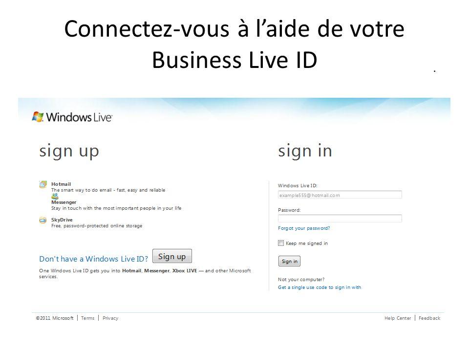 Connectez-vous à laide de votre Business Live ID