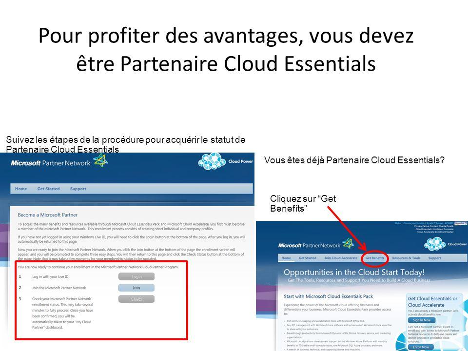 Pour profiter des avantages, vous devez être Partenaire Cloud Essentials Suivez les étapes de la procédure pour acquérir le statut de Partenaire Cloud