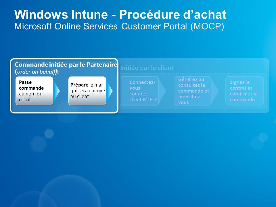 Windows Intune - Procédure dachat Microsoft Online Services Customer Portal (MOCP) Initiée par le client Commande initiée par le Partenaire ( order on