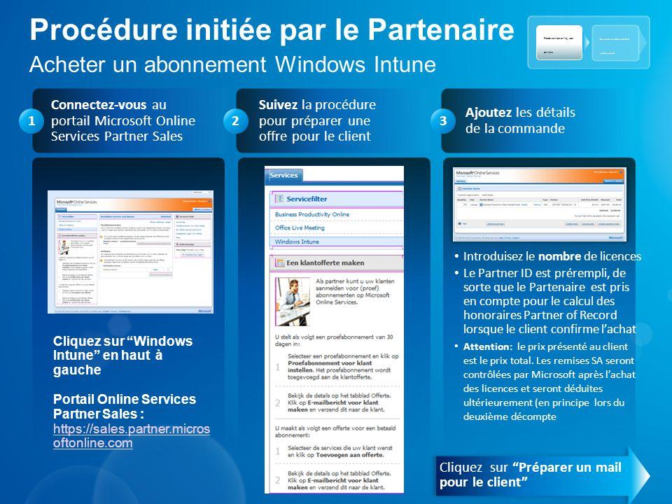 Procédure initiée par le Partenaire Acheter un abonnement Windows Intune Connectez-vous au portail Microsoft Online Services Partner Sales Ajoutez les
