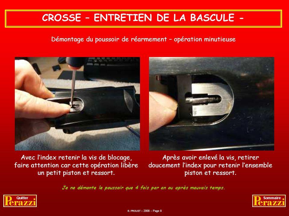 CROSSE – ENTRETIEN DE LA BASCULE - Huiler la clé de verrouillage, sujette aux intempéries. Lubrifier les percuteurs par lintérieur et toutes autres pi