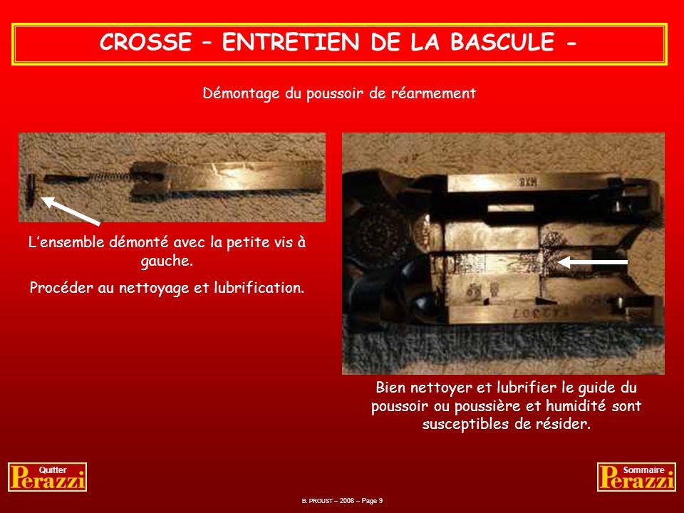 B. PROUST – 2008 – Page 8 QuitterSommaire CROSSE – ENTRETIEN DE LA BASCULE - Démontage du poussoir de réarmement – opération minutieuse Avec lindex re