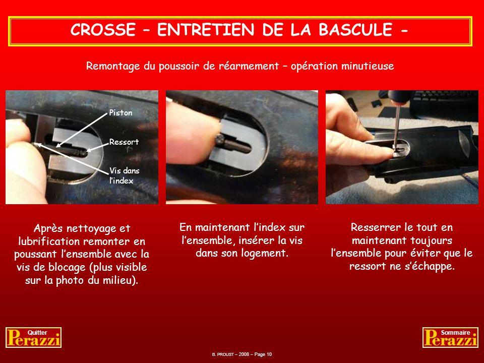 B. PROUST – 2008 – Page 9 QuitterSommaire CROSSE – ENTRETIEN DE LA BASCULE - Lensemble démonté avec la petite vis à gauche. Procéder au nettoyage et l