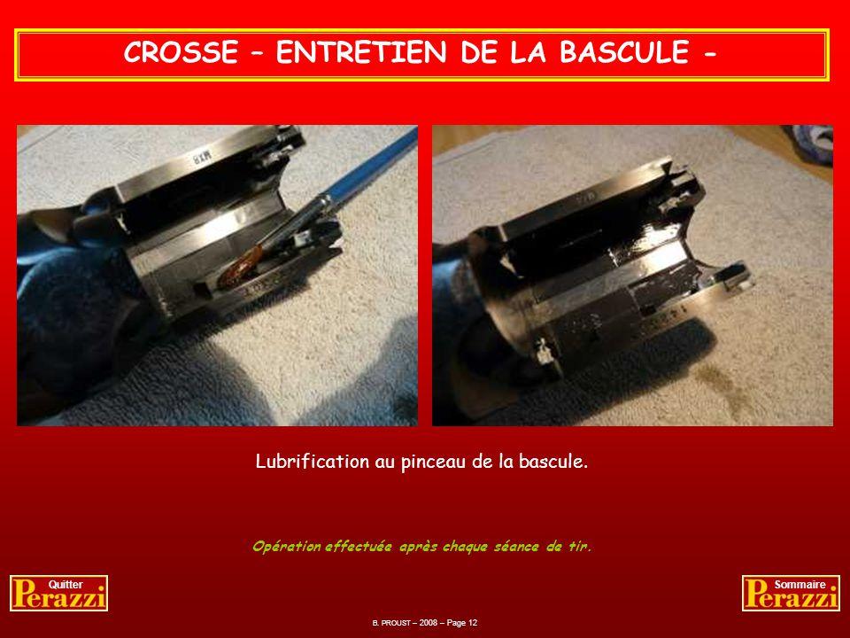 B. PROUST – 2008 – Page 11 QuitterSommaire CROSSE – ENTRETIEN DE LA BASCULE - Opération effectuée après chaque séance de tir. Graissage téflon de laxe