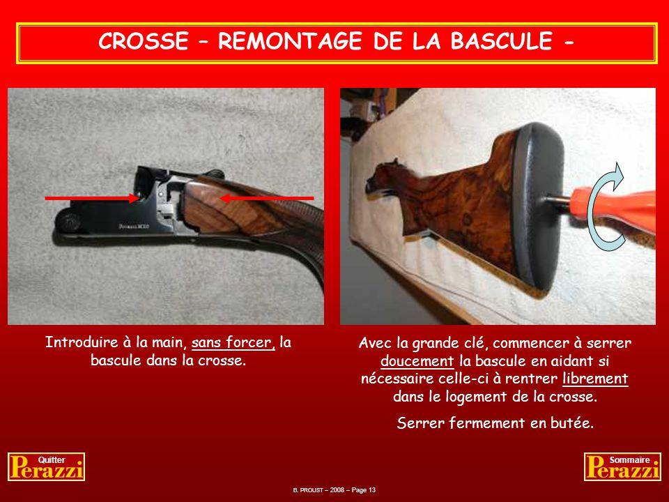 B. PROUST – 2008 – Page 12 QuitterSommaire CROSSE – ENTRETIEN DE LA BASCULE - Opération effectuée après chaque séance de tir. Lubrification au pinceau