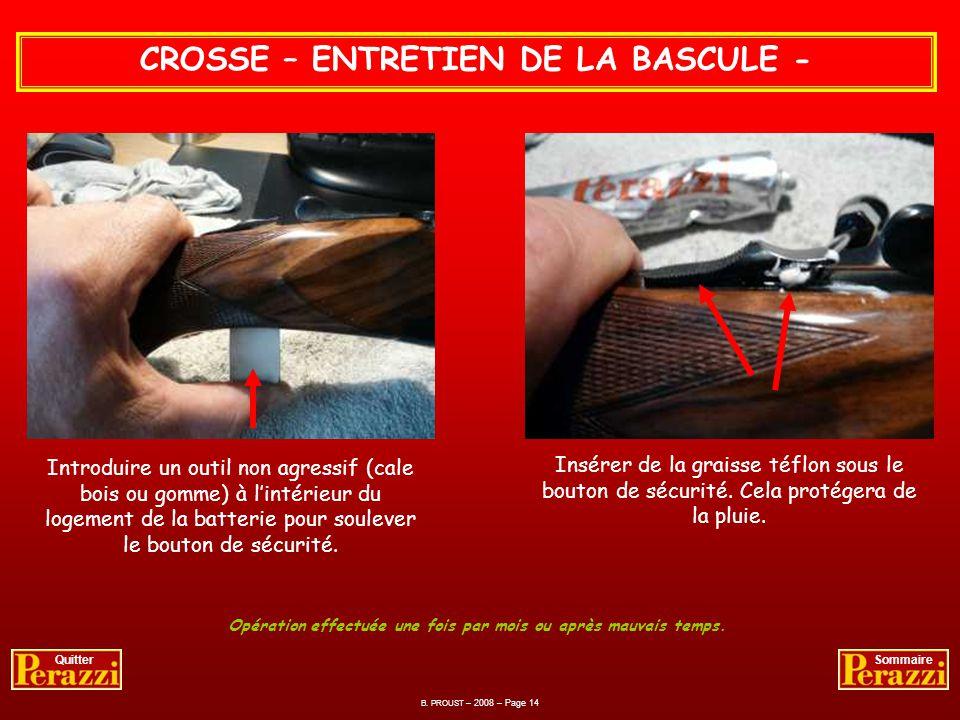 CROSSE – REMONTAGE DE LA BASCULE - B. PROUST – 2008 – Page 13 QuitterSommaire Introduire à la main, sans forcer, la bascule dans la crosse. Avec la gr