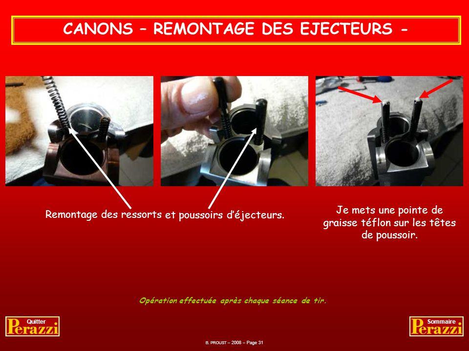 CANONS – REMONTAGE DES EJECTEURS - Lubrification au pinceau des poussoirs et ressorts déjecteurs. B. PROUST – 2008 – Page 30 QuitterSommaire Huile uti