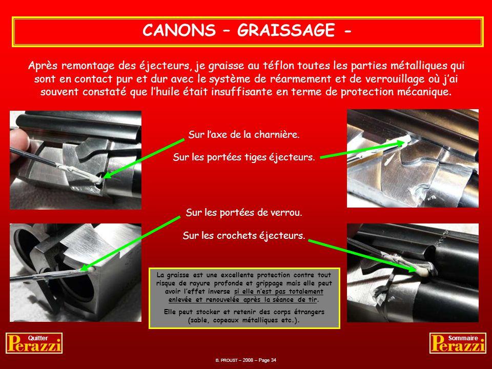 Avec le pouce Opération simple à réaliser à condition de bien aligner dans le puits du ressort lensemble ressort-poussoir-éjecteur CANONS – REMONTAGE