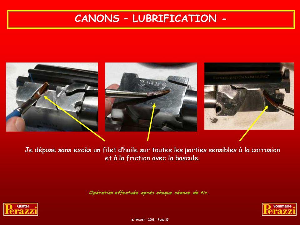 CANONS – GRAISSAGE - Après remontage des éjecteurs, je graisse au téflon toutes les parties métalliques qui sont en contact pur et dur avec le système