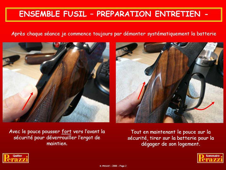 FUSIL – ETAT APRES LE TIR - Compte tenu de lentretien que je fais, je ne démonte le fusil quau terme dun week-end de tir. Entre-deux il reste monté po