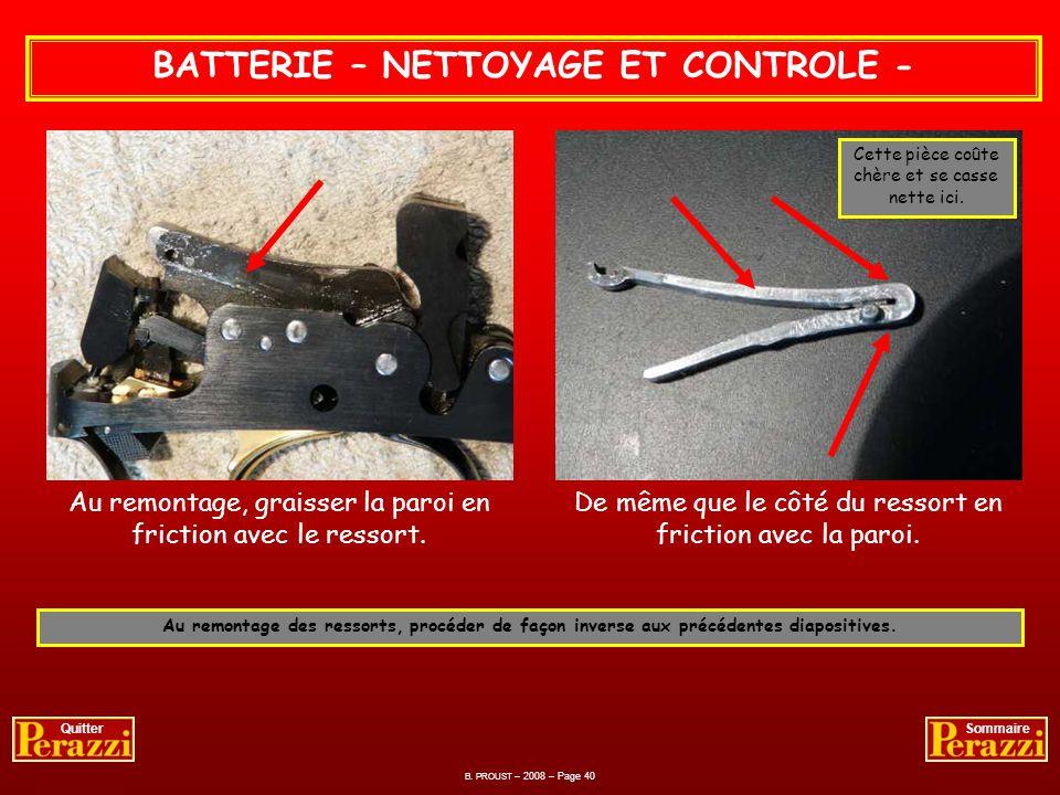 B. PROUST – 2008 – Page 39 QuitterSommaire Compression et Démontage des ressorts de la batterie. BATTERIE – NETTOYAGE ET CONTROLE - dégagement du teno