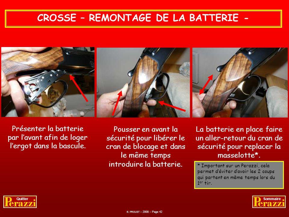 B. PROUST – 2008 – Page 41 QuitterSommaire BATTERIE – NETTOYAGE ET CONTROLE - Graissage téflon.Lubrification des différentes pièces.