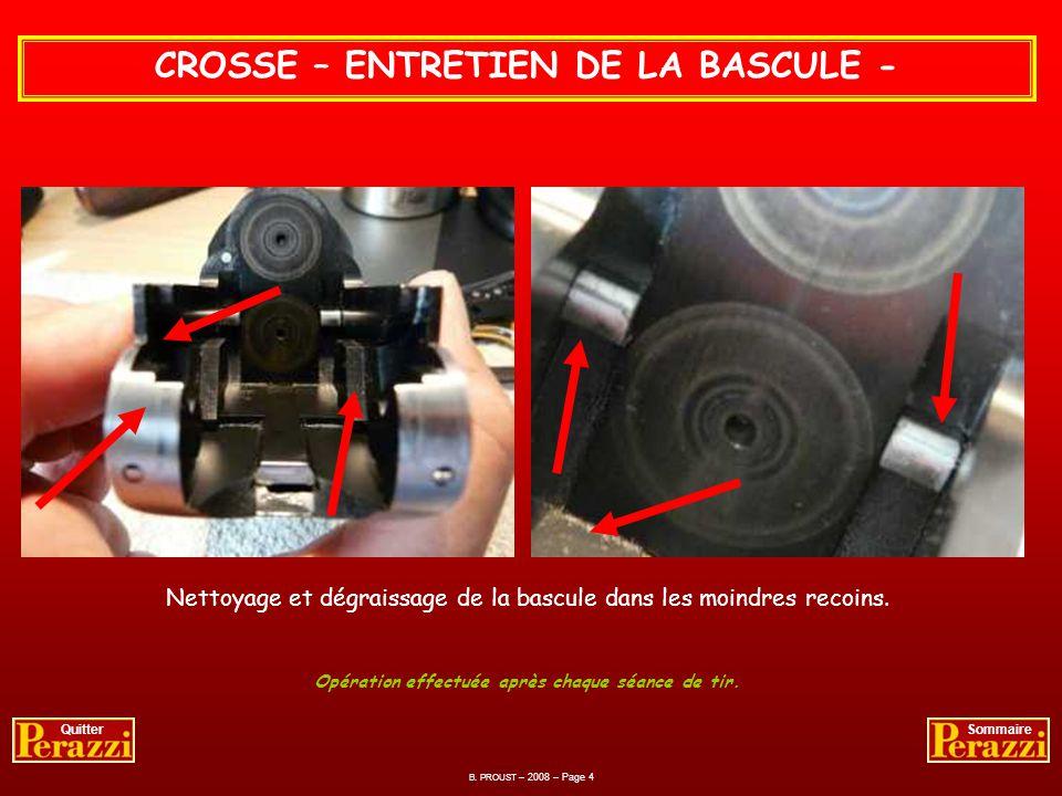 CROSSE – DEMONTAGE DE LA BASCULE - Je ne démonte ma crosse que 4 fois par an ou après mauvais temps. La bascule est prête pour une bonne révision. B.