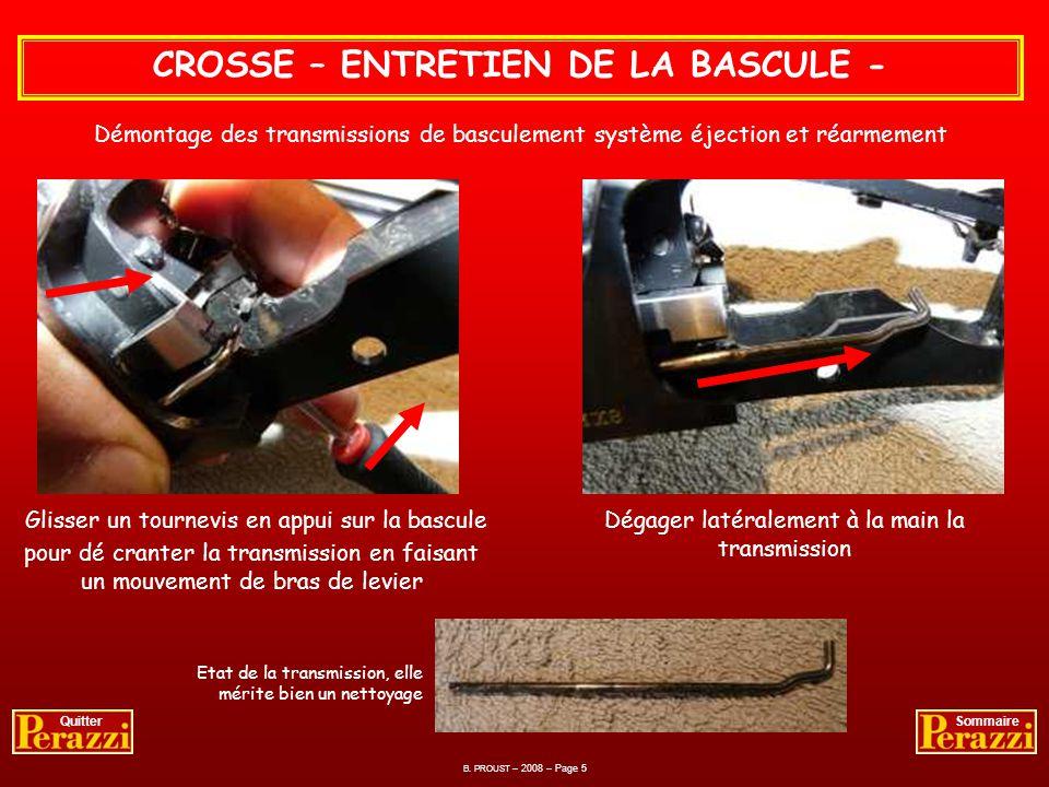 B. PROUST – 2008 – Page 4 QuitterSommaire Nettoyage et dégraissage de la bascule dans les moindres recoins. CROSSE – ENTRETIEN DE LA BASCULE - Opérati