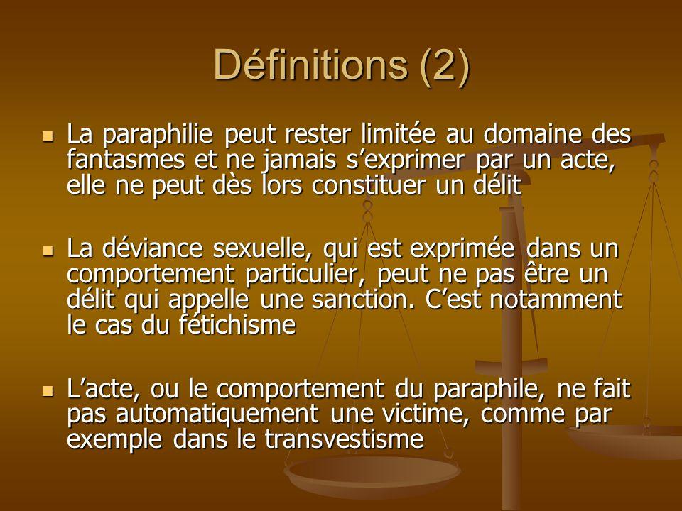 Définitions (2) La paraphilie peut rester limitée au domaine des fantasmes et ne jamais sexprimer par un acte, elle ne peut dès lors constituer un dél