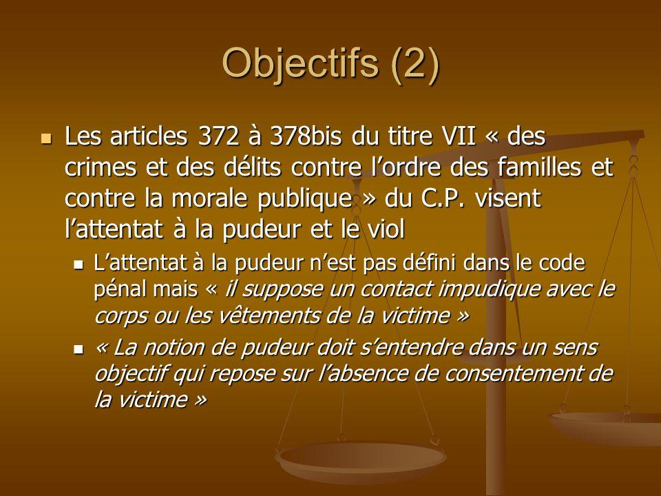 Objectifs (2) Les articles 372 à 378bis du titre VII « des crimes et des délits contre lordre des familles et contre la morale publique » du C.P. vise