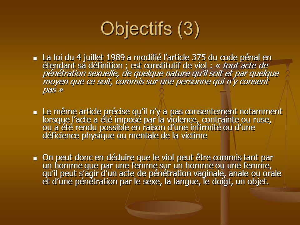 Objectifs (3) La loi du 4 juillet 1989 a modifié larticle 375 du code pénal en étendant sa définition ; est constitutif de viol : « tout acte de pénét
