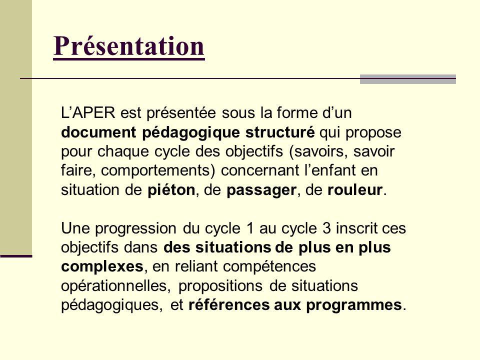Présentation LAPER est présentée sous la forme dun document pédagogique structuré qui propose pour chaque cycle des objectifs (savoirs, savoir faire,