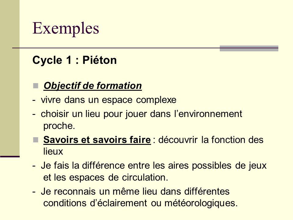 Exemples Cycle 1 : Piéton Objectif de formation - vivre dans un espace complexe - choisir un lieu pour jouer dans lenvironnement proche. Savoirs et sa