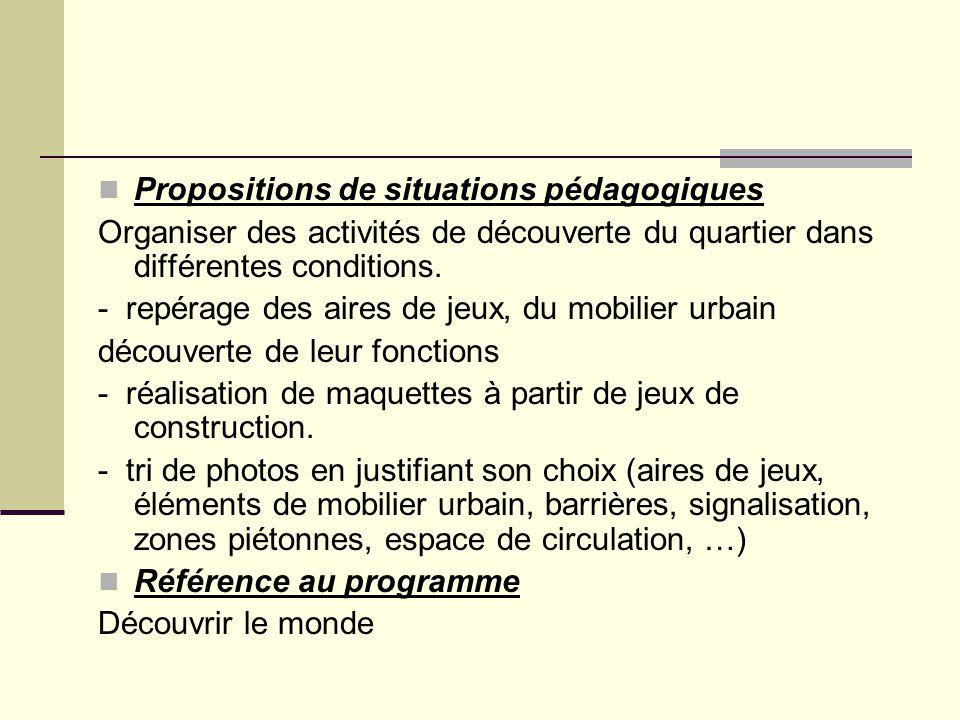 Propositions de situations pédagogiques Organiser des activités de découverte du quartier dans différentes conditions. - repérage des aires de jeux, d