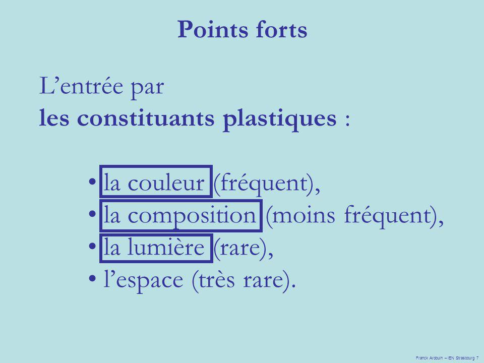 Lentrée par les constituants plastiques : la couleur (fréquent), la composition (moins fréquent), la lumière (rare), lespace (très rare). Points forts