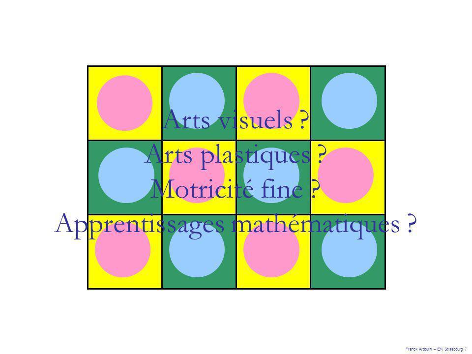 Arts visuels ? Arts plastiques ? Motricité fine ? Apprentissages mathématiques ? Franck Ardouin – IEN Strasbourg 7