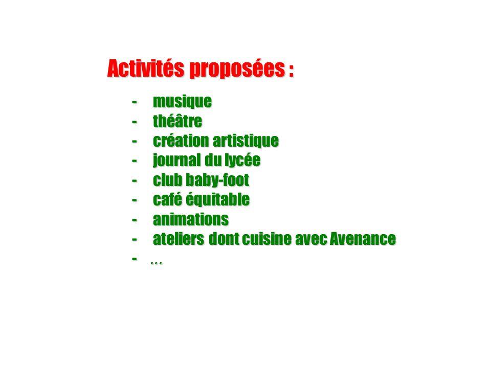 Activités proposées : - musique - théâtre - création artistique - journal du lycée - club baby-foot - café équitable - animations - ateliers dont cuisine avec Avenance -...