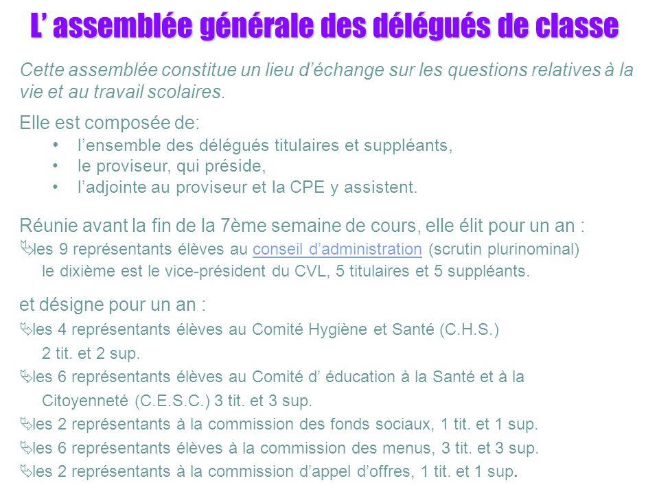 L assemblée générale des délégués de classe Cette assemblée constitue un lieu déchange sur les questions relatives à la vie et au travail scolaires.