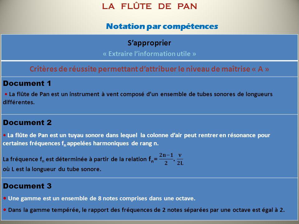 LA FLÛTE DE PAN Notation par compétences Sapproprier « Extraire linformation utile » Critères de réussite permettant dattribuer le niveau de maîtrise