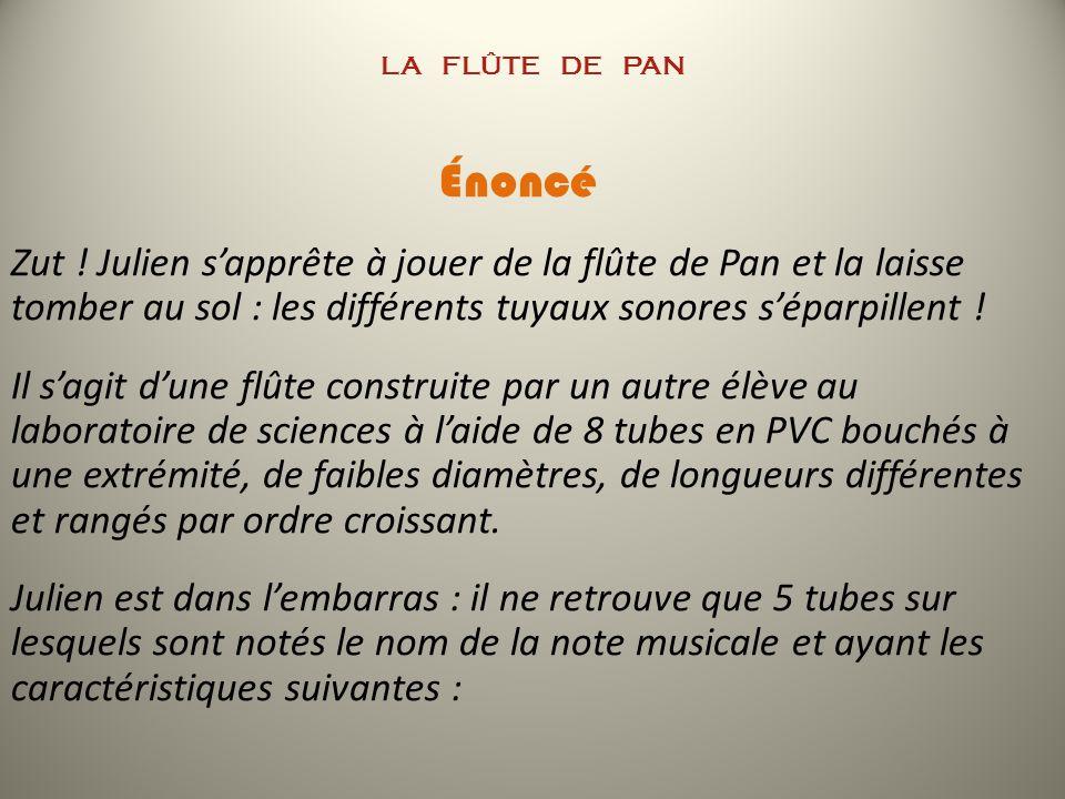 LA Flûte de PAN Proposition de corrigé 1/L (m -1 )f 1 (Hz) 3,096261,6 3,876329,6 4,098349,2 5,155440 6,135523,2