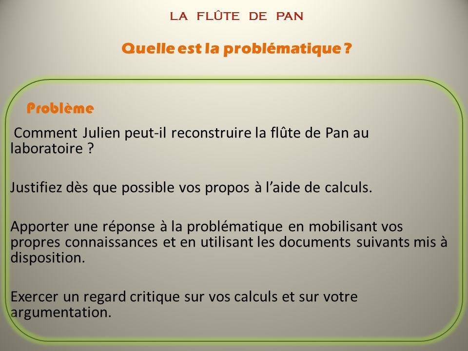 LA FLÛTE DE PAN Quelle est la problématique ? Problème Comment Julien peut-il reconstruire la flûte de Pan au laboratoire ? Justifiez dès que possible