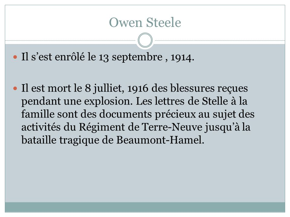 Owen Steele Il sest enrôlé le 13 septembre, 1914.