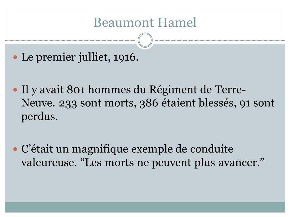 Beaumont Hamel Le premier julliet, 1916.Il y avait 801 hommes du Régiment de Terre- Neuve.
