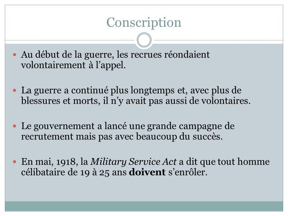 Conscription Au début de la guerre, les recrues réondaient volontairement à lappel.