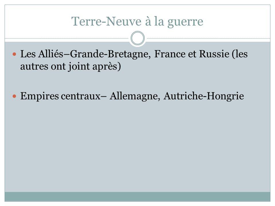Terre-Neuve à la guerre Les Alliés–Grande-Bretagne, France et Russie (les autres ont joint après) Empires centraux– Allemagne, Autriche-Hongrie