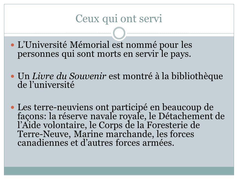 Ceux qui ont servi LUniversité Mémorial est nommé pour les personnes qui sont morts en servir le pays.